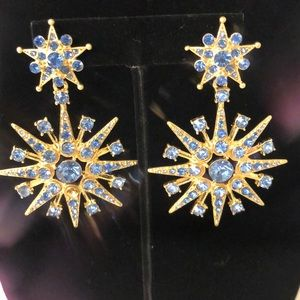 Oscar de la Renta light blue starburst earrings